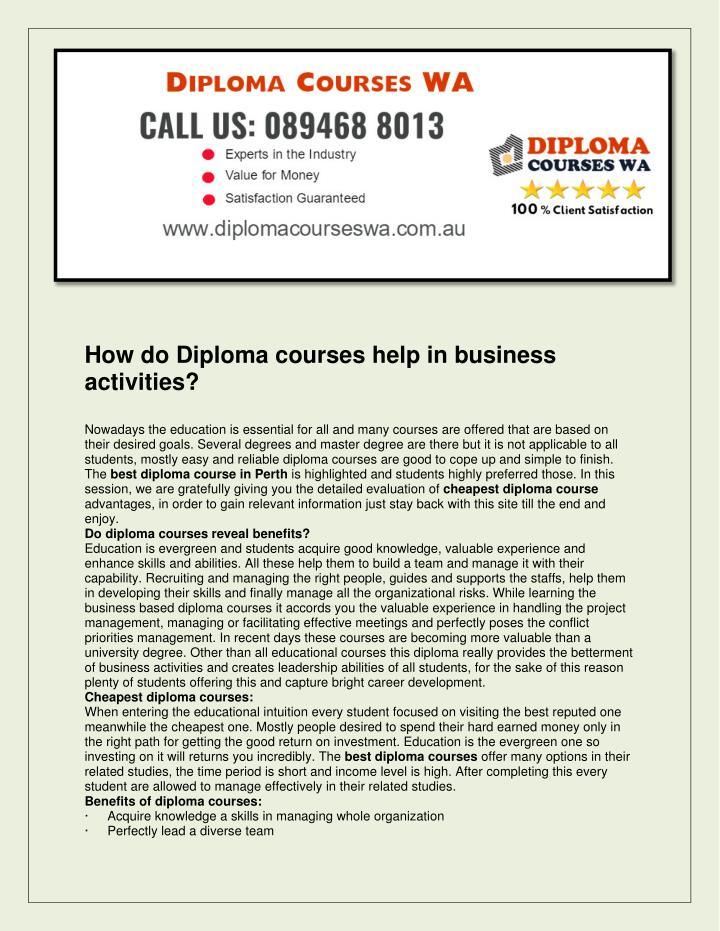 How do Diploma courses help in business