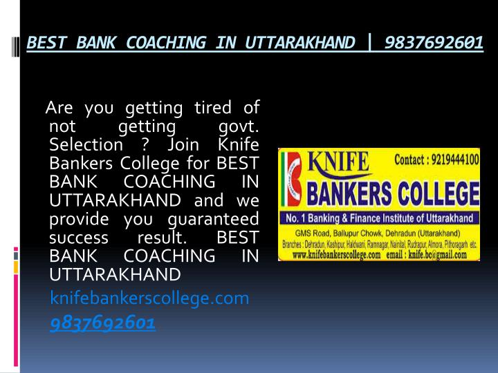 BEST BANK COACHING IN UTTARAKHAND