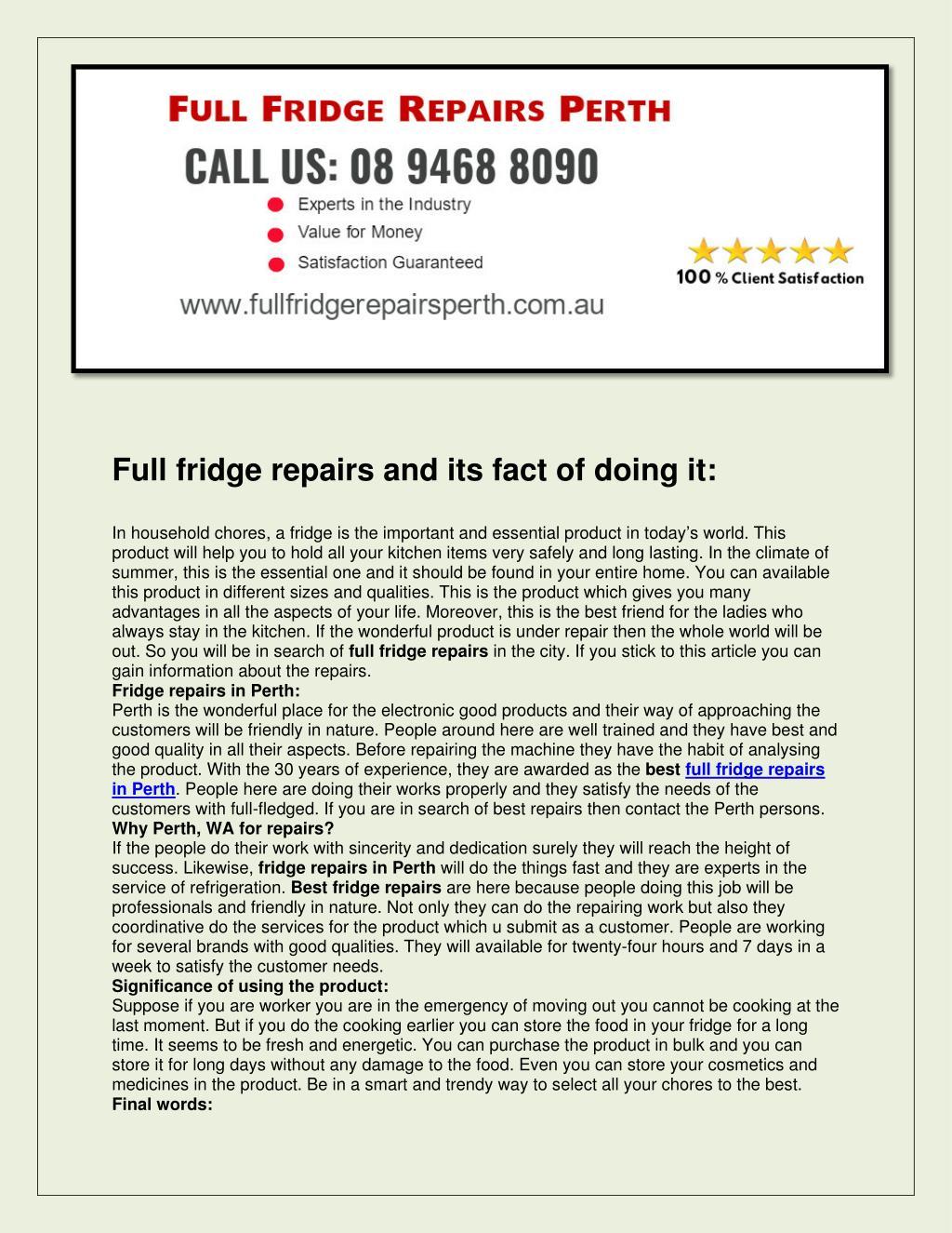 PPT - Full fridge repairs perth PowerPoint Presentation - ID:7408661