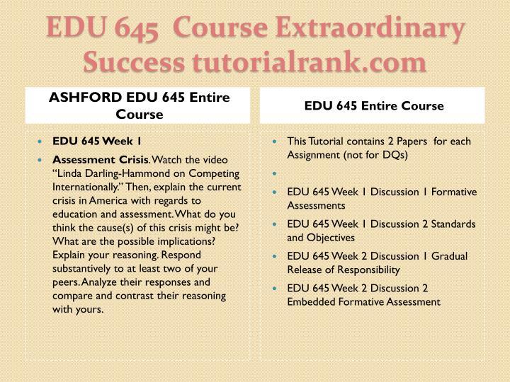 Edu 645 course extraordinary success tutorialrank com1