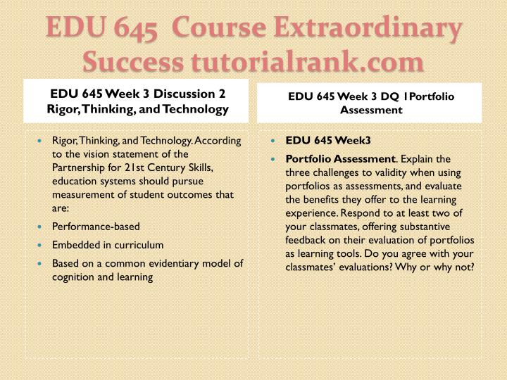 EDU 645 Week 3 Discussion 2 Rigor, Thinking, and Technology