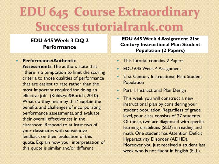 EDU 645 Week 3 DQ 2 Performance