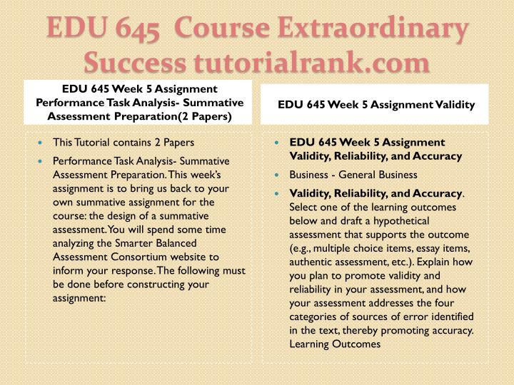 EDU 645 Week 5 Assignment Performance Task Analysis- Summative Assessment Preparation(2 Papers)