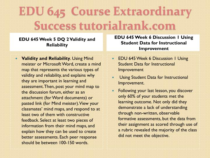 EDU 645 Week 5 DQ 2 Validity and Reliability