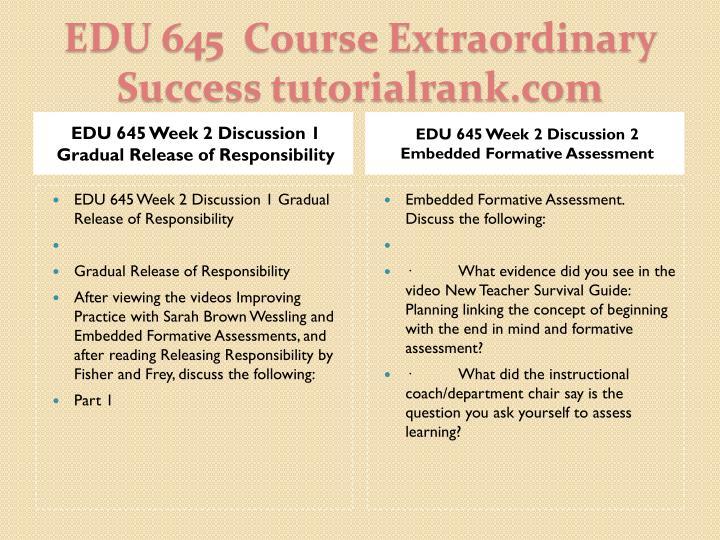 EDU 645 Week 2 Discussion 1 Gradual Release of Responsibility