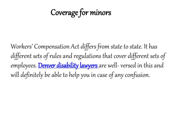 Coverage for minors