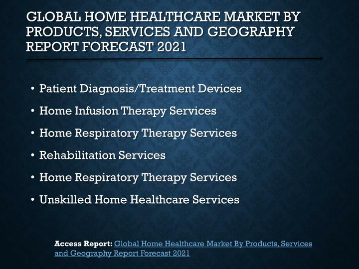 Global home healthcare market by products services and geography report forecast 20211