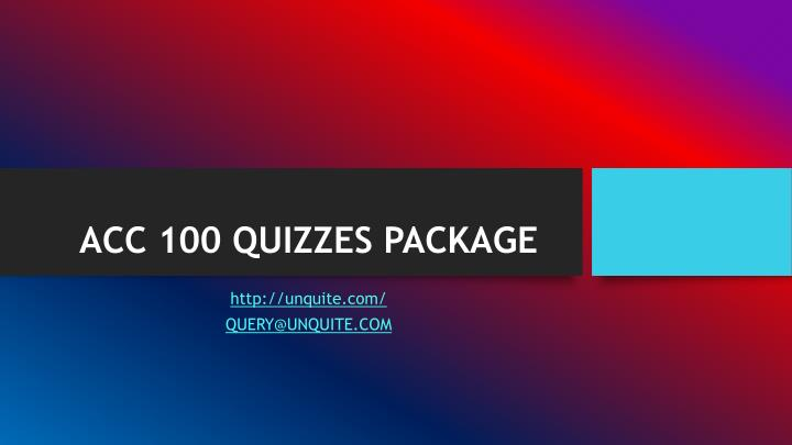 acc 100 quizzes package n.
