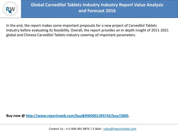 Global Carvedilol Tablets Industry Industry Report Value Analysis