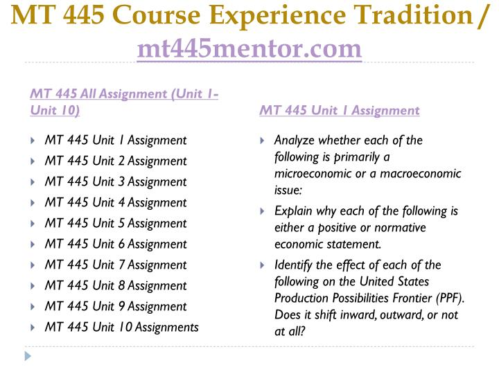 mt445 unit 7 assignment O revises the us army marksmanship unit assignment mission and guidance  enlisted assignments and utilization management : history this publication is a major re.