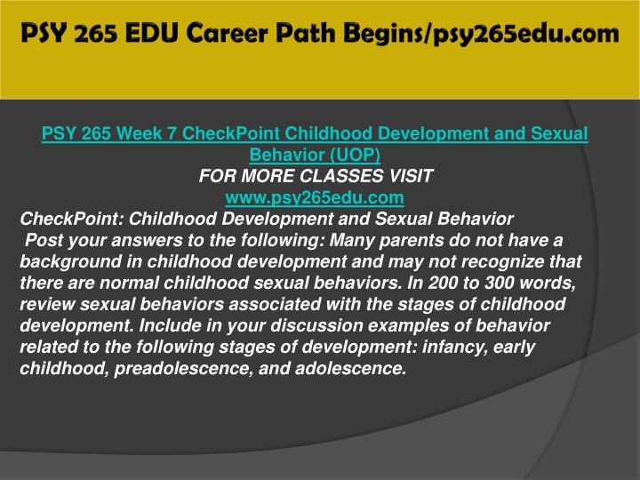 psy 265 checkpoint childhood development and