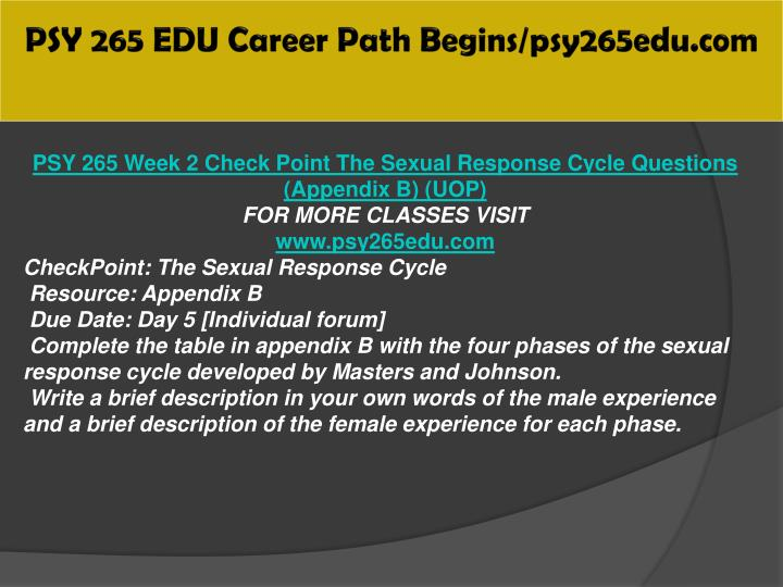 psy 265 appendix b Check out our top free essays on sexual response cycle to help you write your own essay (appendix b) psy 265 week 3 checkpoint sexual dysfunction psy 265 week 3.