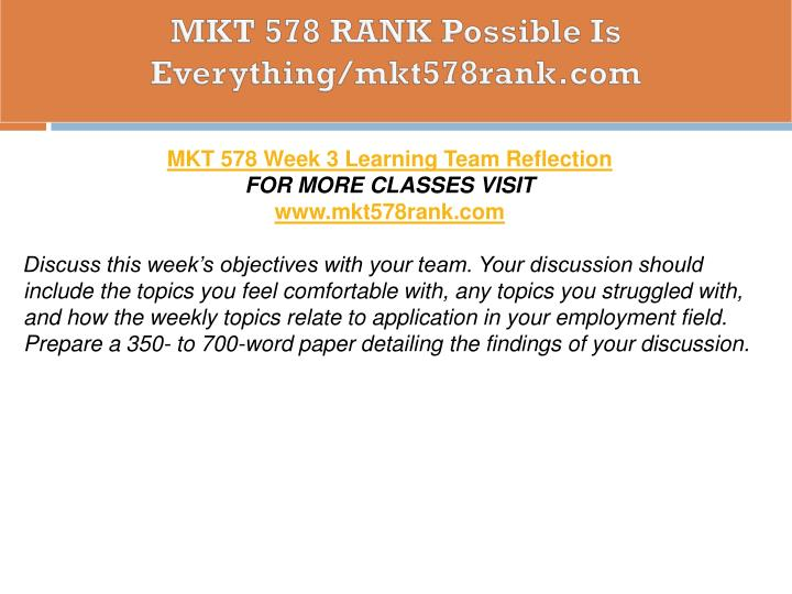 MKT 578 RANK Possible Is Everything/mkt578rank.com