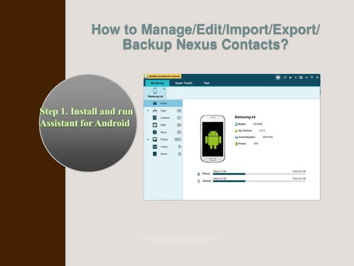How to Manage/Edit/Import/Export/ Backup Nexus Contacts?