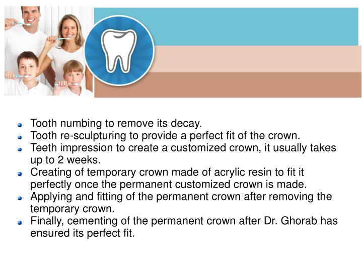 Tooth numbing to remove its decay.