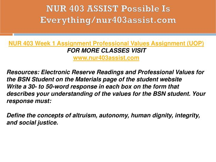 bsn student professional values