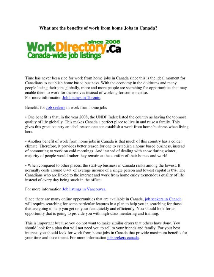 Ppt What Are The Benefits Of Work From Home Jobs In Canada