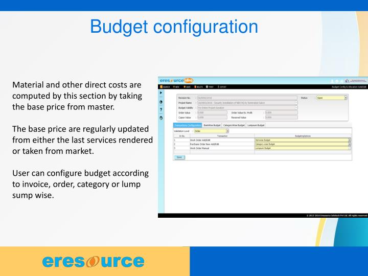 Budget configuration