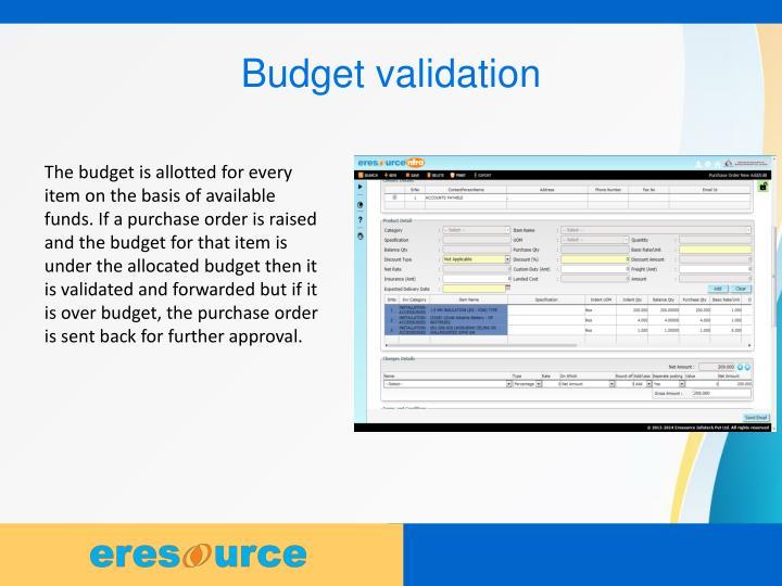 Budget validation