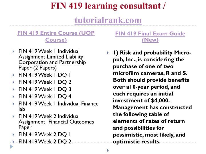 fin 419 week 2 financial