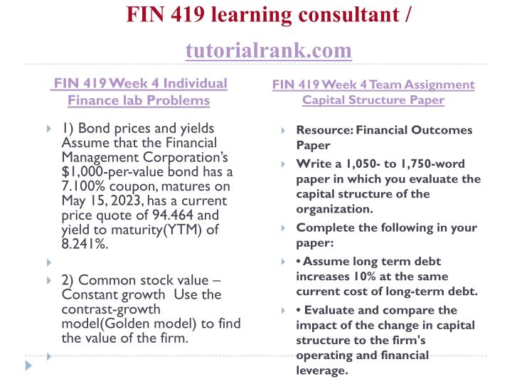 fin 419 week 2 financial outcomes paper