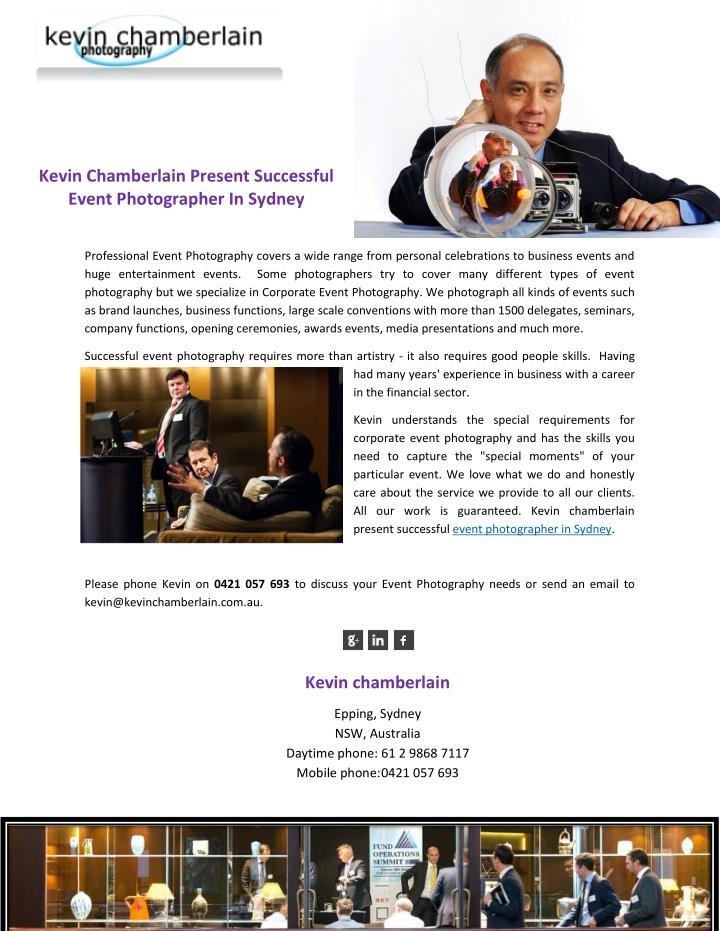 PPT - Kevin Chamberlain Present Successful Event