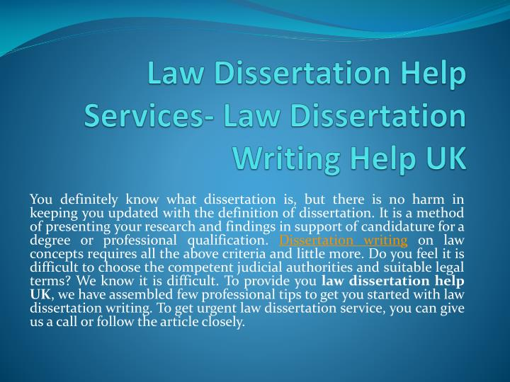 How to write a dissertation for law