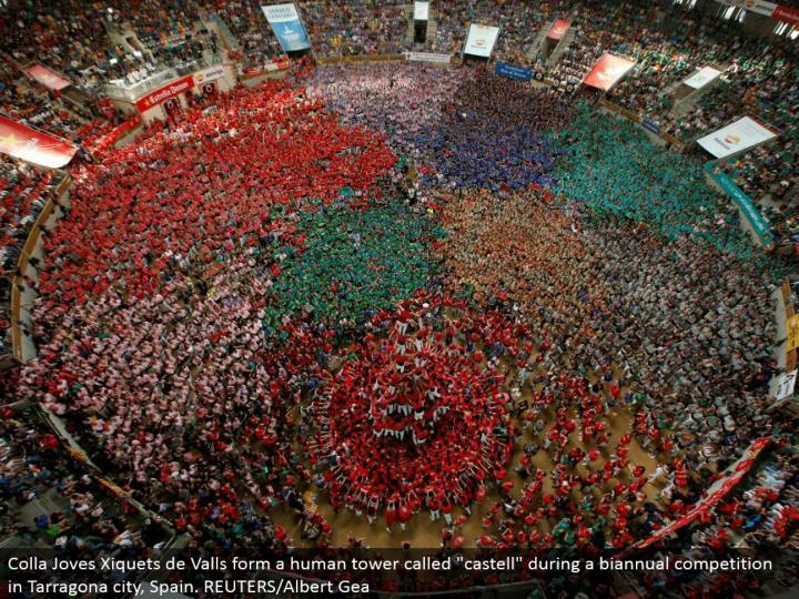 """Colla Joves Xiquets de Valls structure a human tower called """"castell"""" amid a semiannual rivalry in Tarragona city, Spain. REUTERS/Albert Gea"""