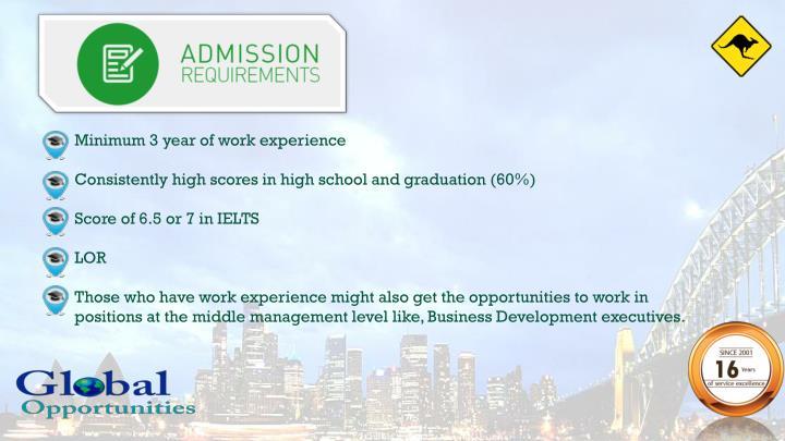 Minimum 3 year of work experience