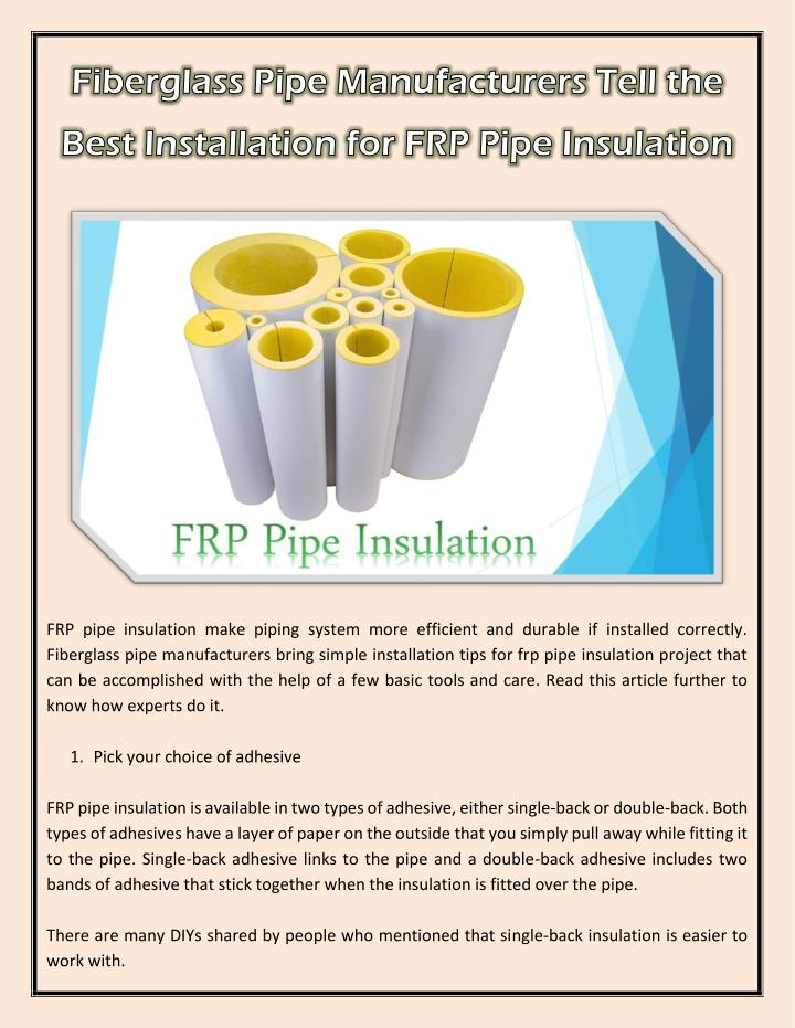 PPT - Fiberglass Pipe Manufacturers Tell the Best