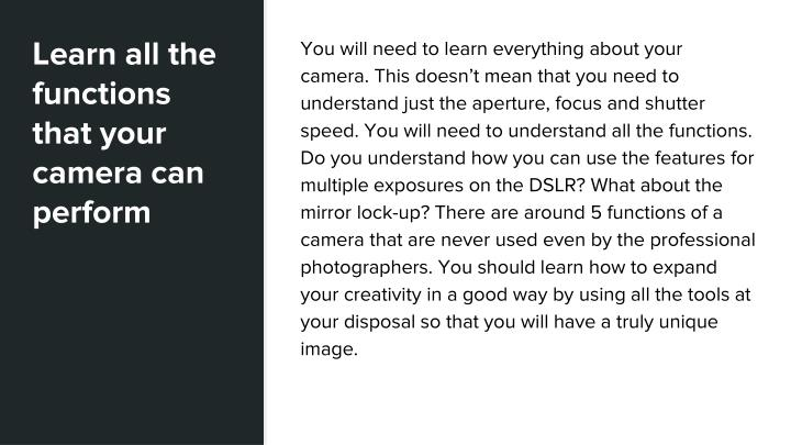 Learn all the functions that your camera can perform