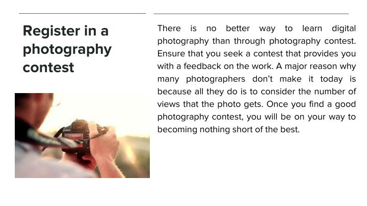 Register in a photography contest