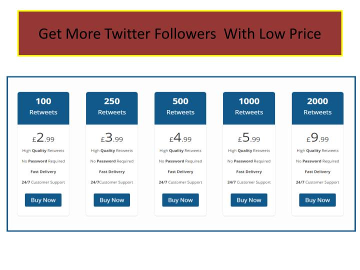 Get more twitter followers with low price