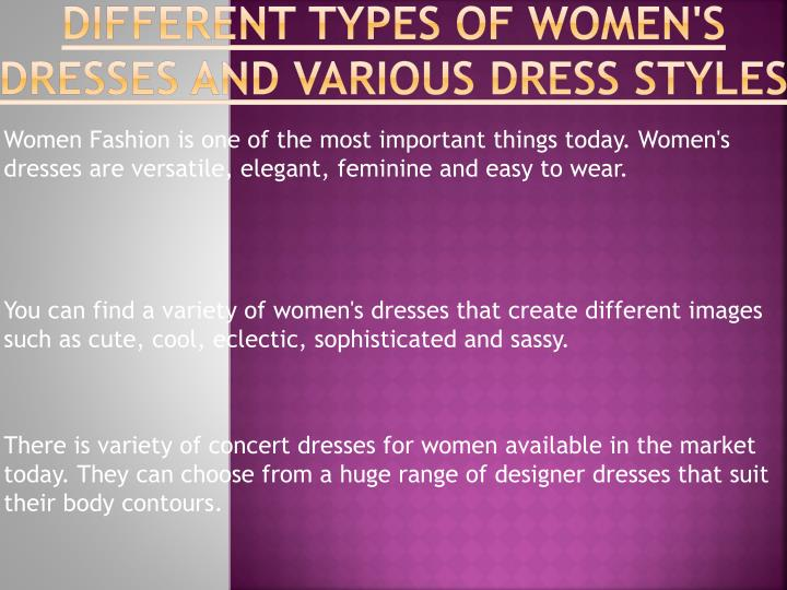 different types of women s dresses and various dress styles n.