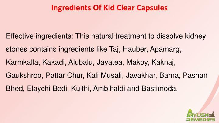 Ingredients Of Kid Clear Capsules