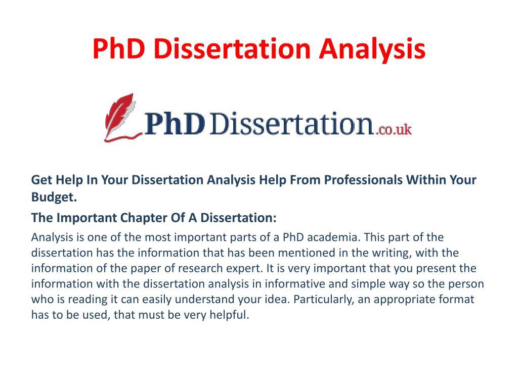 Dissertation analysis part