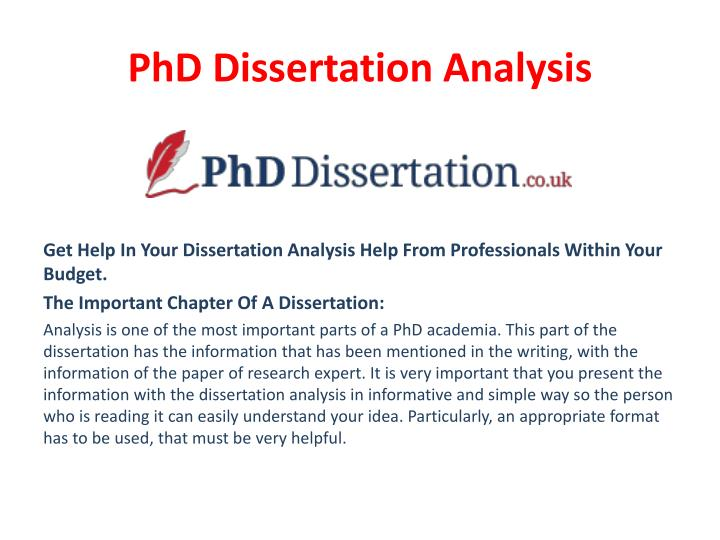 dissertation analysis part This short video goes into detail about what characterises a correct thesis statement and what pitfalls to avoid some examples are discussed of correct stat.