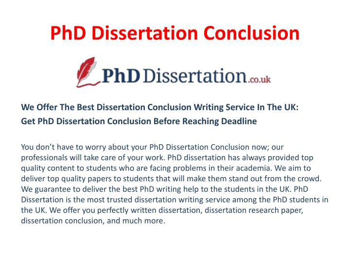 good dissertation conclusion Discussing your findings your dissertation's discussion should tell a story, say experts what do your data say.