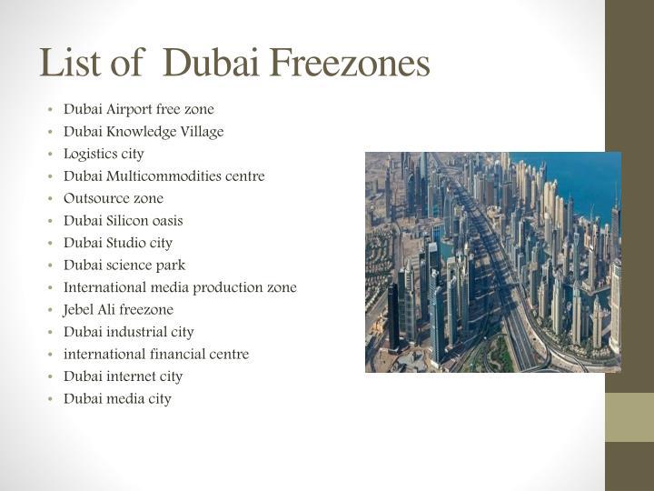 List of  Dubai Freezones