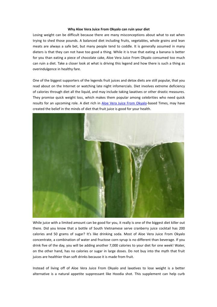 Why Aloe Vera Juice From Okyalo can ruin your diet