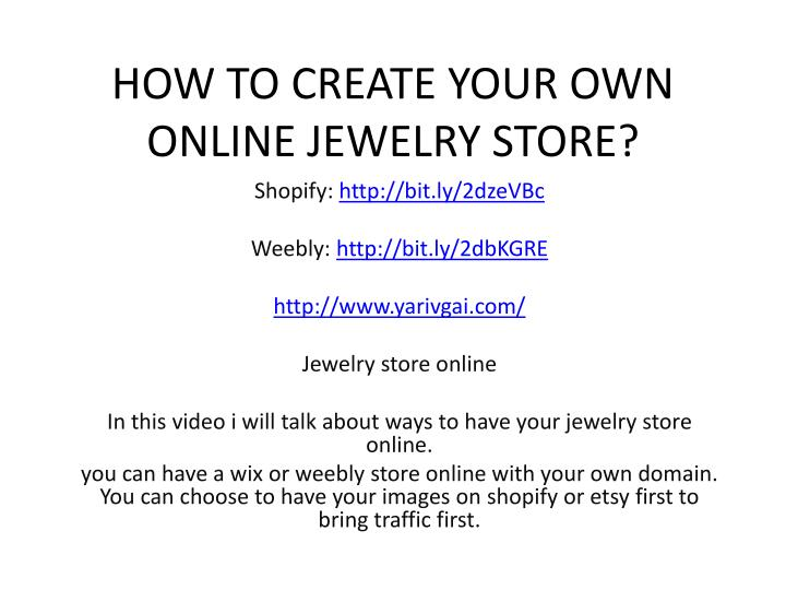 how to create your own online jewelry store