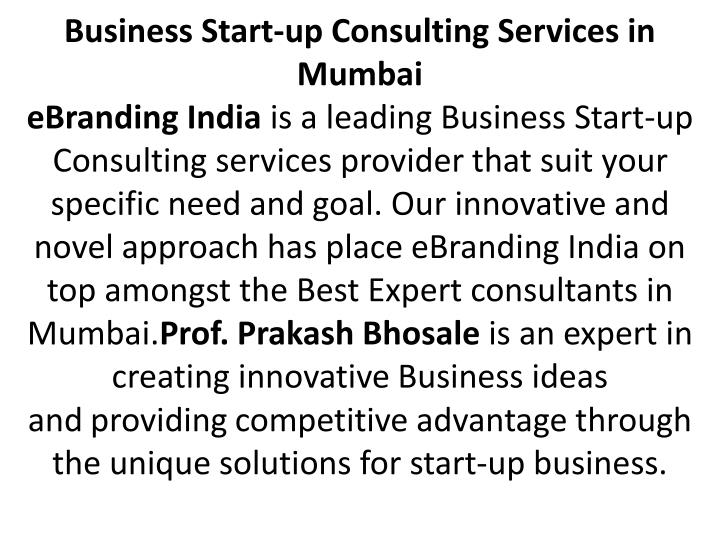 Business Start-up Consulting Services in Mumbai