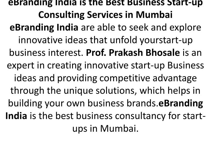 eBranding India is the Best Business Start-up Consulting Services in Mumbai