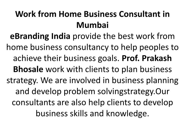 Work from Home Business Consultant in Mumbai