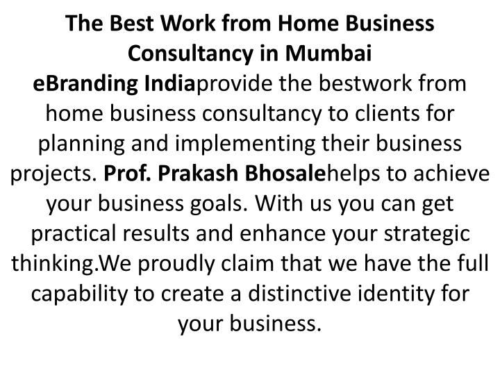 The Best Work from Home Business Consultancy in Mumbai