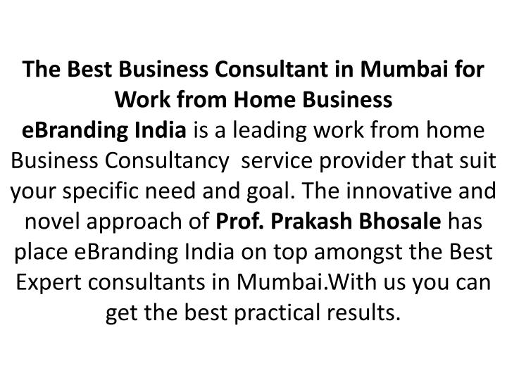 The Best Business Consultant in Mumbai for Work from Home Business