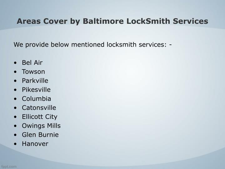 Areas Cover by Baltimore LockSmith Services
