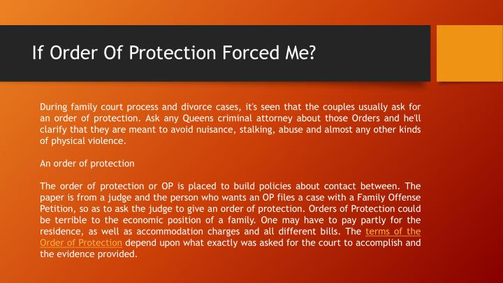 If order of protection forced me