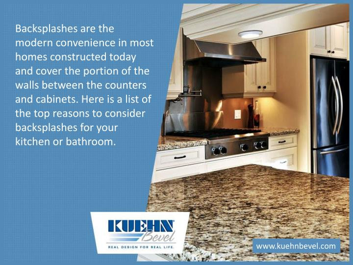 Backsplashes are the modern convenience in most homes constructed today and cover the portion of the...
