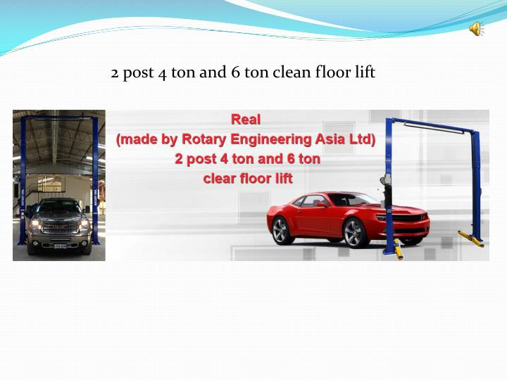 2 post 4 ton and 6 ton clean floor lift